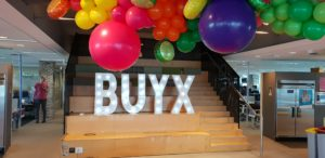 BUYX event letters and balloons