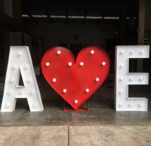 initials with valentine heart